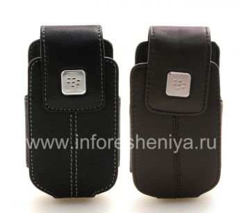 Kasus kulit asli dengan klip dengan tag logam Kulit Swivel Holster untuk BlackBerry 8220 Pearl Balik