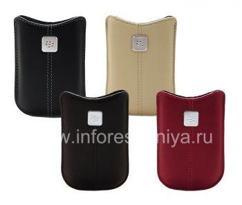 Das Original Ledertasche mit einem Metallschild Leder Tasche für Blackberry 8220 Flip Pearl