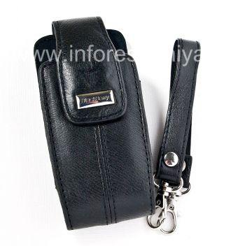 L'étui en cuir original avec sangle et un métal tag fourre-tout en cuir pour BlackBerry 8100/8110/8120 Pearl