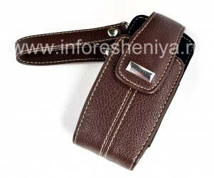 """Original Leather Case Bag with a metal tag """"BlackBerry"""" Embrossed Leather Tote for BlackBerry 8100/8110/8120 Pearl, Dark Brown"""