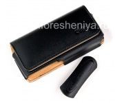 Signature Leather Case Bag with Clip Cellet Noble Case for BlackBerry 8100/8110/8120 Pearl, Black Brown