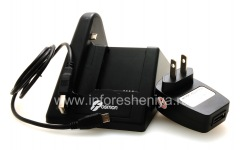 محطة لرسو السفن المملوكة لشحن الهاتف والبطارية Fosmon سطح المكتب USB مهد لبلاك بيري كيرف 9360/9370, أسود