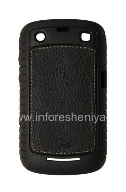 Buy Corporate Silicone seal with leather insert AGF Black Leather Inlay with TPU Case for BlackBerry 9360/9370 Curve