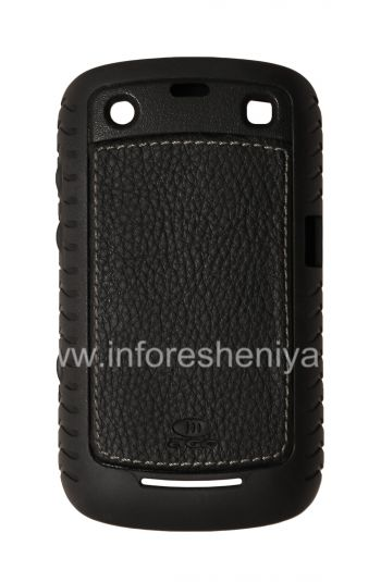 Corporate Silicone seal with leather insert AGF Black Leather Inlay with TPU Case for BlackBerry 9360/9370 Curve