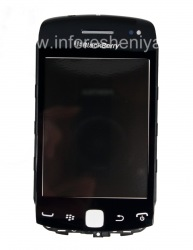Touch-screen (Touchscreen) in the assembly with the front panel for BlackBerry 9380 Curve, The black