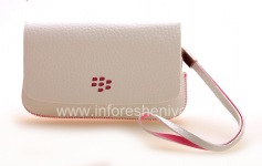 Original Leather Case Bag Leather Folio for BlackBerry 9800/9810 Torch, White w/Pink Accents