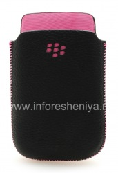 Original Leather Case-pocket Leather Pocket for BlackBerry 9800/9810 Torch, Black w/Pink Accents