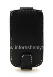 Signature Leather Case handmade Monaco Flip / Book Type Leather Case for BlackBerry 9800/9810 Torch, Black (Black), vertically opening (Flip)