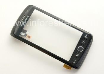Touch-screen (Touchscreen) in the assembly with the front panel for BlackBerry 9850/9860 Torch, The black