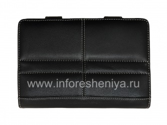 Signature Leather Case Folder with Stand handmade Monaco Book Type Leather Case Stand for BlackBerry PlayBook, Black
