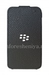 Original leather case with vertically opening cover Leather Flip Shell for BlackBerry Q5, Black