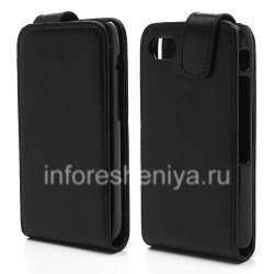 Leather case cover with vertical opening for BlackBerry Q5, Black, fine texture