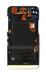 The middle part of the original body in the assembly with the rim for the BlackBerry Z30, Silver / Black