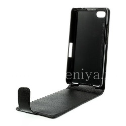 Leather Case with vertical opening cover for BlackBerry Z30, Black, fine texture