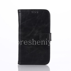 Horizontal Leather Case with opening function supports for BlackBerry Classic, The black