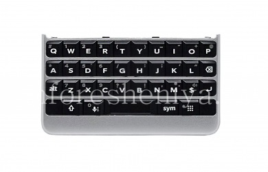 Original English keyboard assembly with a board, a touch element and a fingerprint scanner for BlackBerry KEY2, Silver, QWERTY