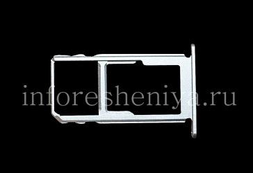 SIM card and memory card holder for BlackBerry KEY2, Metallic