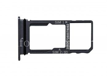 SIM card and memory card holder for BlackBerry Motion, Dark metallic