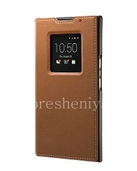 The original leather case with a flip lid Leather Smart Flip Case for BlackBerry Priv, Tan