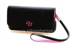 Original Leather Case Bag Leather Folio for BlackBerry 9100/9105 Pearl 3G, Black w/Pink accents