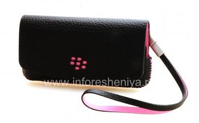 الأصلي حقيبة جلد حقيبة جلدية فوليو لبلاك بيري 9100/9105 Pearl الجيل الثالث 3G, أسود / الوردي (أسود ث / لهجات الوردي)