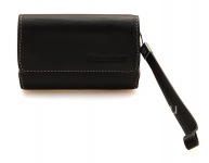 Asli Leather Case Bag Premium Kulit Folio untuk BlackBerry, Black (hitam)