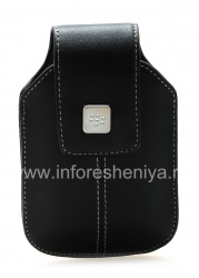 Leather case with clip and metal tags for BlackBerry, The black