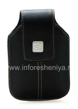 Buy Leather case with clip and metal tags for BlackBerry