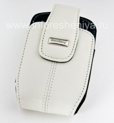 The original leather case with a clip and a metal tag Leather Holster with Swivel Belt Clip for BlackBerry, Pearl White