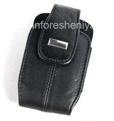 The original leather case with strap and metal tags for BlackBerry Leather Tote, Pitch Black