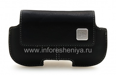 Original horizontal leather case with a clip and a metal tag Horizontal Holster for BlackBerry, Black