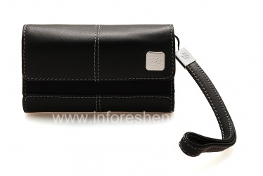Original Leather Case Bag with a metal tag Leather Folio for BlackBerry, Black