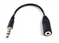 Adapter with 3.5mm headset connector 2.5mm for BlackBerry, The black