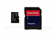 Branded carte mémoire SanDisk MicroSD 2GB pour BlackBerry, Noir