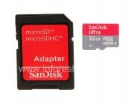 ブランドメモリカードサンディスクモバイルBlackBerry用32ギガバイト(のmicroSDHCクラス10 UHS 1)超のMicroSD, レッド/グレー