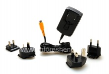 Original International Charger 2A wall charger with attachments for different countries, The black